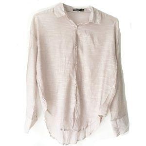 Nasty Gal Textured Blush Button Down Top Size 8